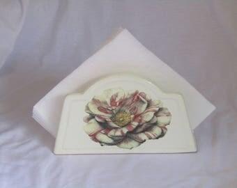 Vintage napkin holder - ceramic napkin holder - picnic napkin holder - Retro napkin holder - Vintage kitchen decor - country napkin holder.