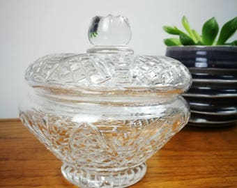 Clear cut glass trinket dish bonbon dish