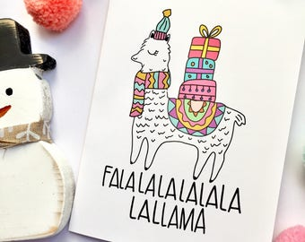 Funny Christmas Cards Coworker Gift Christmas LLAMA Card Holiday Cards Boxes Cards Unique Greeting Cards