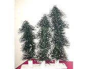 Bottle Brush Trees,Set of 3,Snow Flocked Trees,LG,Green Bottle Brush Trees,Bottle Brush Tree Display,Craft Projects,Christmas,Flocked Pine