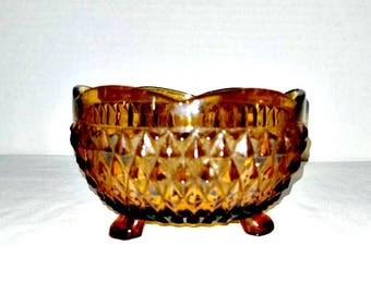 Vintage Indiana Glass Amber Candy Dish,Amber Diamond Point Bowl,3 Toed Bowl,Amber Dish,Amber Glass,Glass Trinket Dish,Diamond Point,1960s