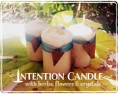 Space Clearing Candle *Sacred Space* with herbs and crystals - Musk, Lemon, Peppermint, Frankincense, Copal & Aquamarine