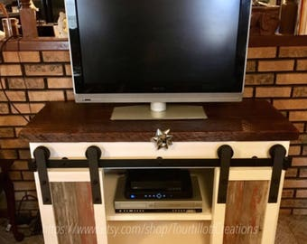 Rustic Tv Console, Entertainment Center, reclaimed, tv stand, barndoor, barnwood, media stand, buffett, side board, living room