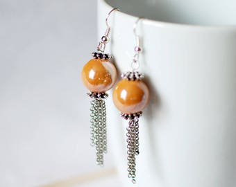 Ochre chains - earrings for women