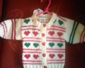 Hand knitted Cardigan, knitted to fit a baby girl aged 0-3 months old