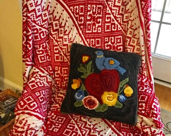 This original rug hooking pattern shows blue bird , perfect size for a wall hanging or pillow.