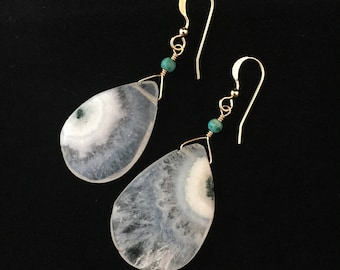 Moss Agate and Turquoise with 14 karat Gold Filled // Gemstone Earrings // Dangle Drop Earrings // gemstone jewelry
