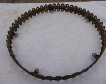 """Large Vintage 14.25"""" Bronze/Brass Kerosene Lamp Shade Holder Lamp Crown Shade Ring Lamp Part"""