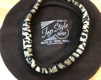 Beret vintage black leopard - Top Style made in Africa