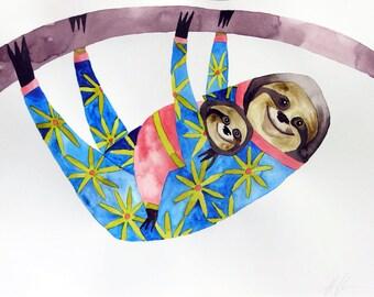 Original art, whimsical art, watercolor, sloth art, nursery decor, whimsical animal art, kids room art, modern nursery art, baby gift, sloth