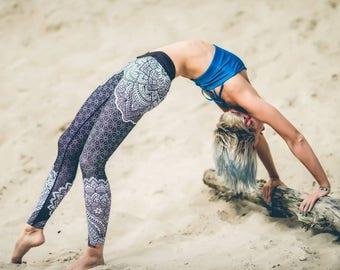 Printed LEGGINGS Merdeka for Yoga Fitness Pilates Dance ACTIVEWEAR black&white