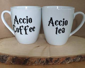 Set of 2 Harry Potter Mugs - Mischief Managed - Solemnly Swear - Maurauder's Map -  Accio Coffee - Accio Tea