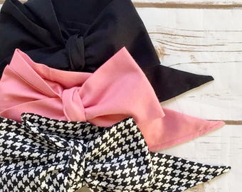 Gorgeous Wrap Trio (3 Gorgeous Wraps)- Noir, Vintage Pink & Noir Houndstooth Gorgeous Wraps; headwraps; fabric head wraps; bows