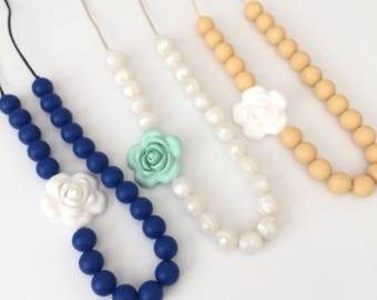 Choose Color Silicone Teething Necklace - Bite Beads Necklace - Teething Necklace for Mom - Nursing Necklace - Silicone Mom Chew Necklace