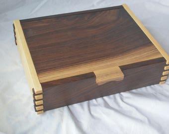 Jewelry box, keepsake box, stash box, medium size box, memory box, walnut jewelry box, wood box