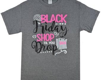 Shop Til You Drop Grey Black Friday T-Shirt - Tees2urdoor 14.95 NOW 8.97