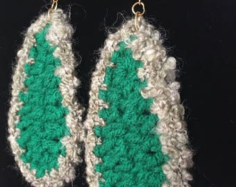 Crochet/Knitted Leaf Shaped Earrings, Handmade Earrings, Mother's Day Gifts, Easter Gifts