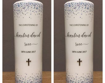 SALE NEW Confetti Baptism candle, Christening candle, Baptism candle for boys,