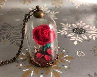 Beauty and the Beast Rose Necklace, Sale, Beauty and the Beast Rose, Red Rose fallen petals, beauty beast wedding, red rose necklace