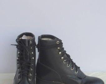 sz 3 d vintage fashion black leather justin lace up combat boots