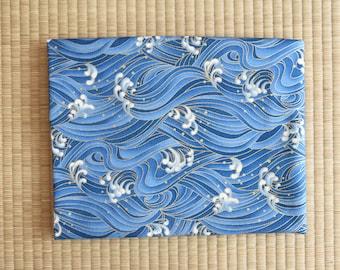 Japan kimono sakura yukata ocean Fabric  1/2 yard blue