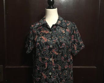 Vintage 70's polyester button down blouse