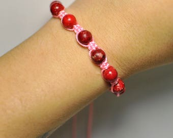 Healing Chakra Macramé Shamballa Bracelet Handmade Adornment with Natural Sea Sediment Jasper Gemstone Bracelet 15 cm 9 Beads.