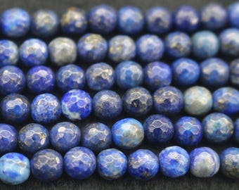 128 Faceted Lapis Lazuli Round Beads,4mm 6mm 8mm 10mm Faceted Lapis Lazuli Round Beads,15 inches per strand