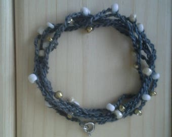 Crochet Gray Thread Beaded White and Gold Bracelet or Necklace