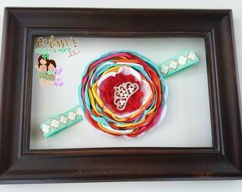 Vintage Style Headband, Mint Singed Flower, Coral Singed Flower, Multi Color Singed Vintage Flower Headband, Multi Color Headband