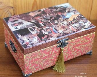 Bruegel wooden tea box, decoupage, trinket, fine art gift