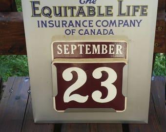 Vintage Equitable Life Insurance Company of Canada Tin Metal Calendar