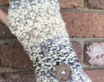 Handmade cream Handwarmers, Fingerless gloves, wristwarmers, blue gloves, mens gloves, ladies cream gloves, knitted mittens