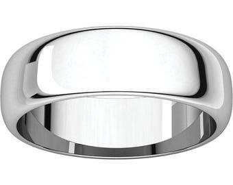 Men's Platinum 6mm Half Round Standard Fit Wedding Ring - Mens 6mm Wide Wedding Band - 14K 18K White Yellow Rose Gold or Platinum