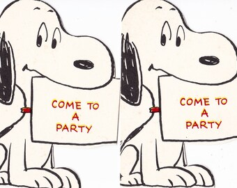 Vintage Hallmark Snoopy Party Invitations Pair (2) 1970's Come to A Party