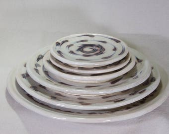 Swirling Comet Vortex Graduated Set of Six Stoneware Wheel Thrown and Hand Decorated Plates