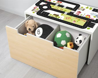 """Play mat for cars:  90x50cm Furniture sticker """"Ride on CITY"""" sutitable for IKEA STUVA Storage bench - Furniture not included 90x50cm"""