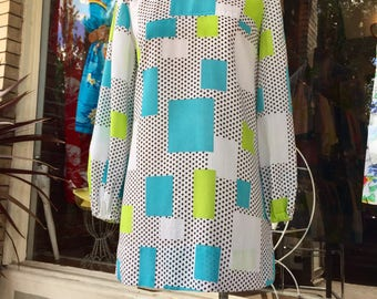 SOLD- S O L D--60's Geometric Color Block Tear Drop Dotted Mod Mini Scooter Dress~ SM 1960's