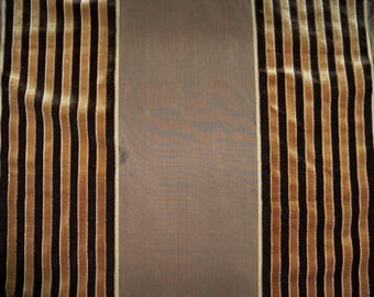 BEACON HILL SILK Velvet Stripes Fabric 2.5 Remnant Yards Brown / Espresso