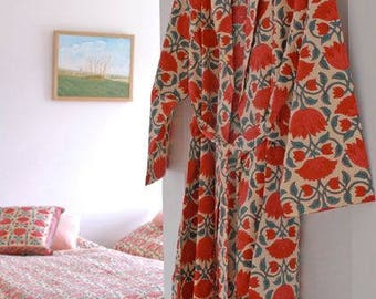 Red Lotus Dressing Gown Hand Block Printed on Organic Cotton