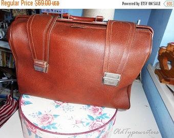 50% SALE Vintage Faux Leather Big Bag. Brown/Cognac Eco Leather Bag. 1970s.