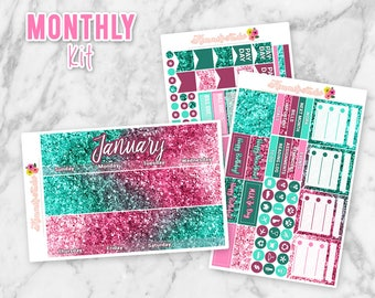 SALE! 20% OFF! January Glitter Monthly Overview Kit | Sparkle Monthly Overview Planner Sticker kit for Erin Condren Life Planners