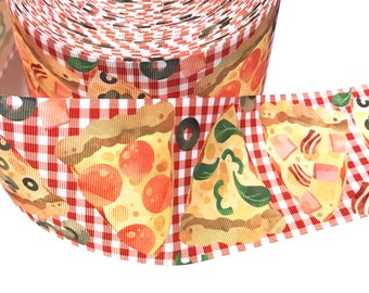 3 inch PIZZA I love Pizza On Red Gingham Pepperoni Food Mushroom Printed Grosgrain Ribbon Cheer Hair Bow - 3""