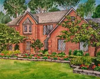 """Custom house portrait. Watercolor house painting. 8"""" by 10"""".Personal artwork."""