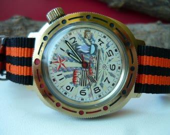 """Vintage wostok wrist watch """"Red star USSR 1941 -1945 Pobeda"""" / men's watch Vostok / military Soviet watch / Mechanical / komandirskie vostok"""
