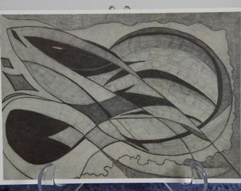 A5 Greeting Card ~ Eel Design ~ Pencil Drawing ~ Graphite Drawing