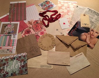 "Journal, Scrapbook, Junk Journal Accessory Kit ""VALENTINE"" Ooh La La! (45 Pieces)"