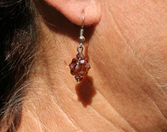 Brown Crystal bicone earrings