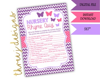 Butterfly Baby Shower Nursery Rhyme Game - INSTANT DOWNLOAD - Purple and Pink - Digital File - J002