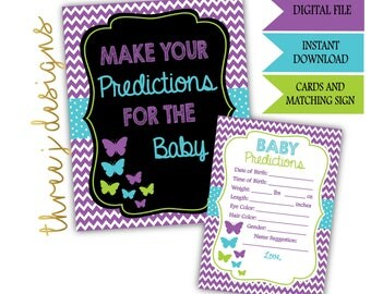 Butterfly Baby Shower Predictions for Baby Cards and Sign - INSTANT DOWNLOAD - Purple, Teal and Green - Digital File - J006
